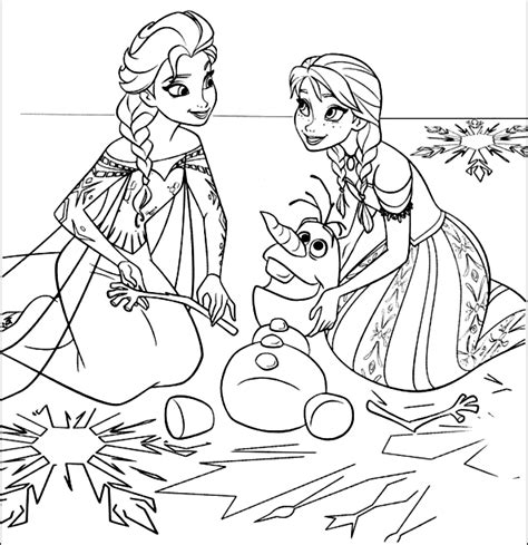 principesse da colorare elsa disegno da colorare di ed elsa ricompongono olaf frozen