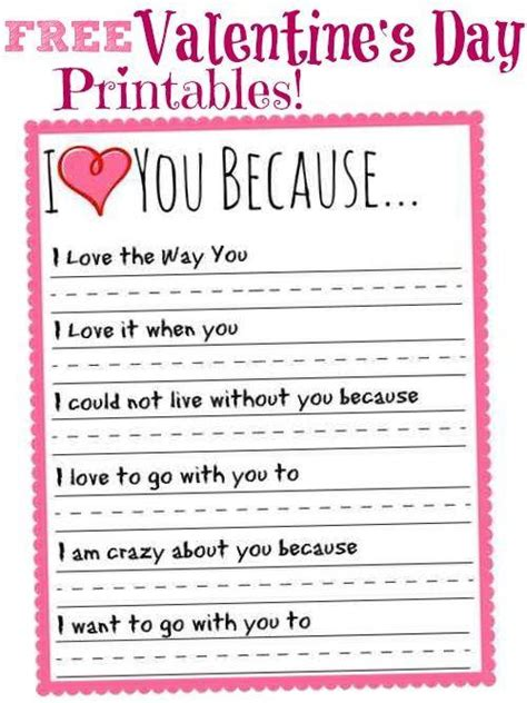 I Love You Because Valentines Day Printable!