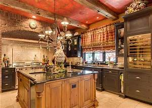 Luxury Country Kitchen With Reclaimed Wood & Exposed Brick