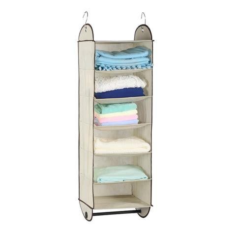 Foldable 6 Shelf Fabric Hanging Closet Organizer Storage