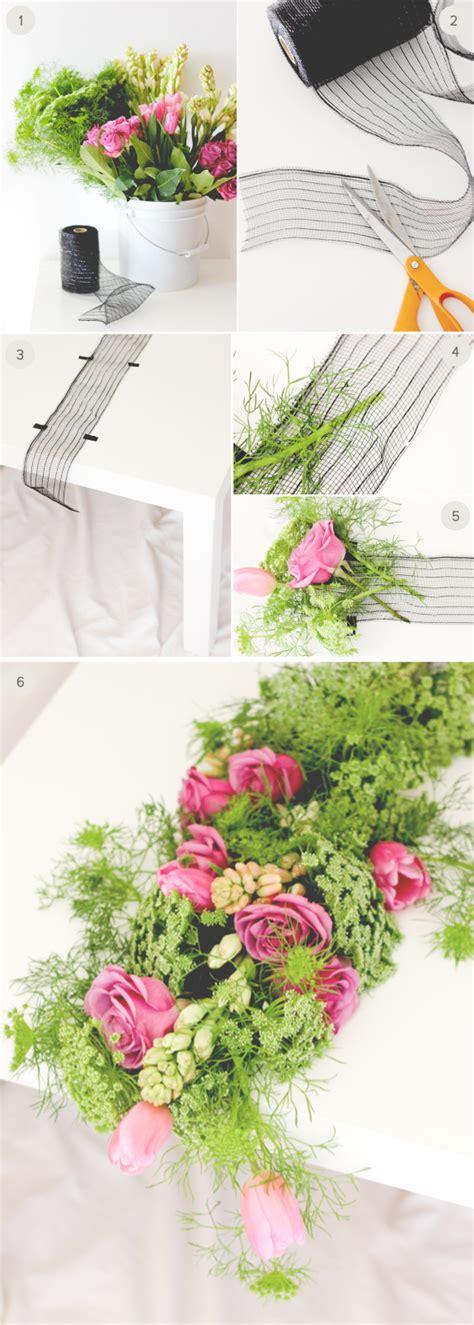 diy wedding fresh floral table runner julep