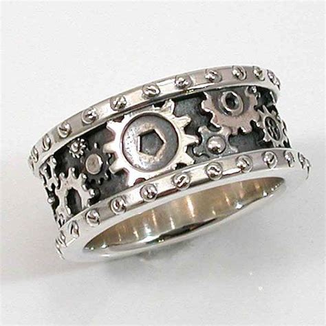 steunk mens silver ring gears and rivets industrial steam handmade gear ring