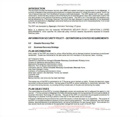 Disaster Recovery Plan Template 7 Disaster Recovery Plan Templates Free Pdf Doc Formats