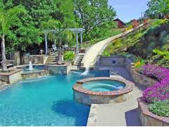 Swimming Pool And Spa Waterslide Landscape Pathway Outdoor Lighting Back Yard Swimming Pool Designs Backyard Swimming Pool Designs Summer In Your Small Backyard Pool Design Alka Pool Construction Swimming Pool Design Ideas And Pool Landscaping 12