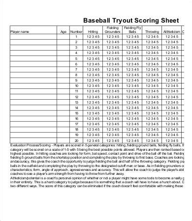 baseball score sheet    documents