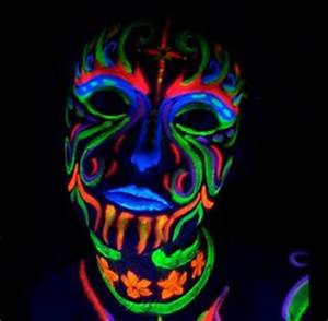 Amazon Black Light Reactive Neon Makeup with Black