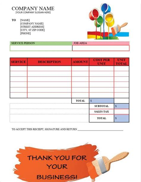 painting invoices painter invoice template invoice