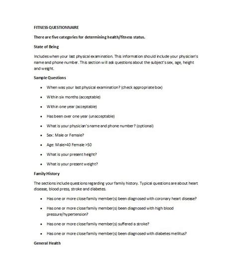 questionnaire templates word  template