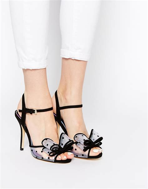 bow zara miss kg florrie bow heeled sandals in black lyst