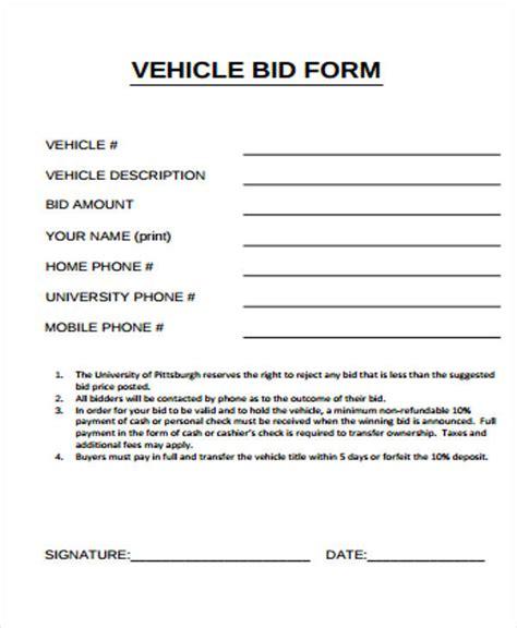 bid sheet templates