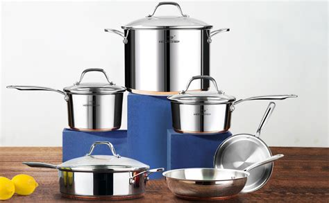 amazoncom homi chef  piece nickel  stainless steel cookware set copper band nickel