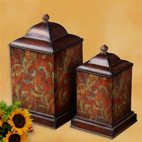 tuscan canisters kitchen s 2 french tuscan italian old world lrg fiore flowers canister set ebay
