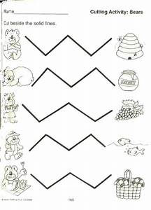 Zig Zag Cutting Lines Worksheets