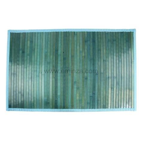 tapis de bain lattes bambou bleu tapis salle de bain eminza