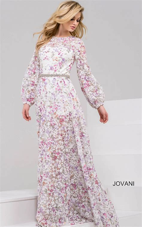Jovani Dresses | Womens White Long Sleeve Floral Gown ...