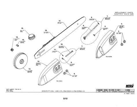Remington model RM1635W chainsaw, electric genuine parts