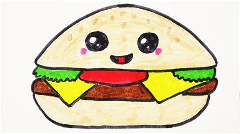 einfache bilder zum malen kawaii cheeseburger diy malen s 252 223 en burger f 252 r einladungen und geburtstagskarten selber machen
