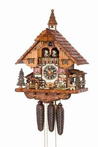 Hones, Chalet, Style, One, Day, Musical, Cuckoo, Clock, With, Moving, Couple, Kissing, Water, Wheel, U0026, Dancers