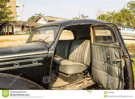 Open Front Door Car Old Black Car Stock Photo