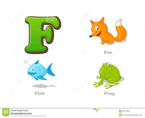 Abc Letter F Funny Kid Icons Set