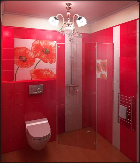 salle de bains coquelicot carrelage    rouge cerise