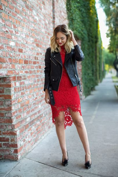 Late afternoon blogger red lace lace dress red lace dress perfecto leather jacket date ...