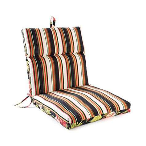 maui flowers stripes reversible outdoor chair cushion