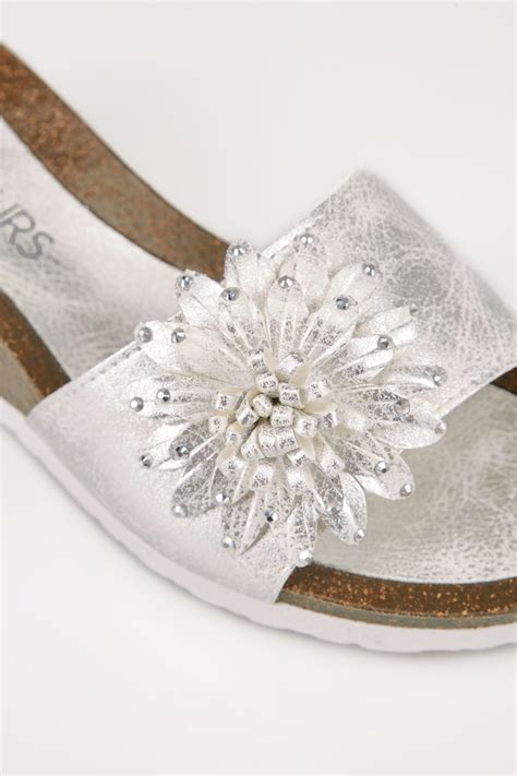 silver floral applique wedge sandals  eee fit