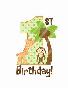 Items similar to Jungle Baby First Birthday Large Digital ...