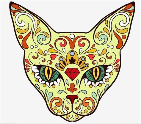 Day Of The Dead Sugar Skull Cat  Tattoos Pinterest