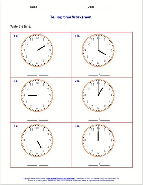 telling time worksheets  st grade telling time