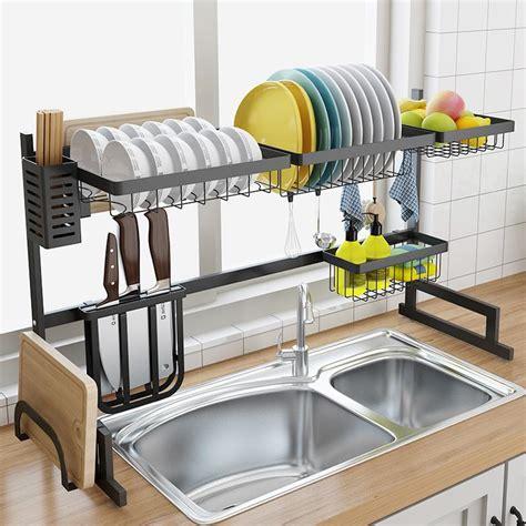 satin al paslanmaz celik lavabo drenaj raf mutfak raf iki katli zemin lavabo raf bulasiklik