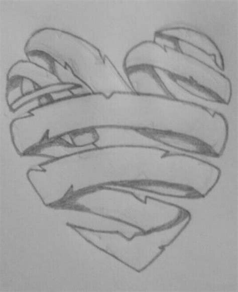ribbon heart graffiti drawing sketches art drawings