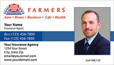 Below is all the information and details. Farmers Insurance business card designs PRINTZU.COM