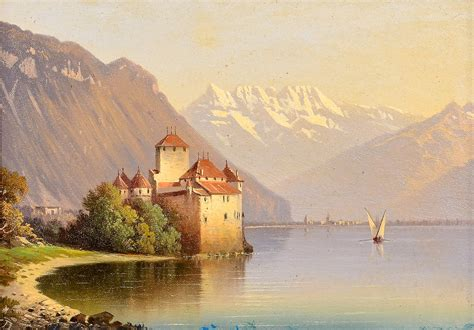 Lot 828: Two European Oil Painting Lake Scenes   Case Antiques