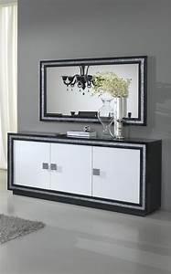 Salle A Manger Noir : miroir de salle manger rectangulaire design laqu noir ~ Premium-room.com Idées de Décoration