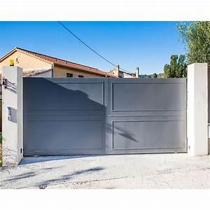 Portail 2 Battants : portail battant modele 3 contemporain double battants droit plein en fer 3 x 2 m ~ Melissatoandfro.com Idées de Décoration