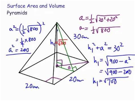 volume  surface area square pyramid youtube