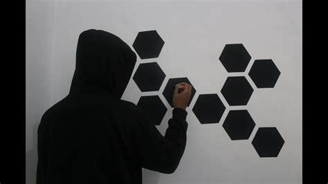 mengecat dinding motif segi enamsarang lebah youtube