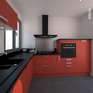 cuisine rouge porte effet soft touch ginko rouge mat With salle À manger contemporaine avec cuisine equipee americaine moderne