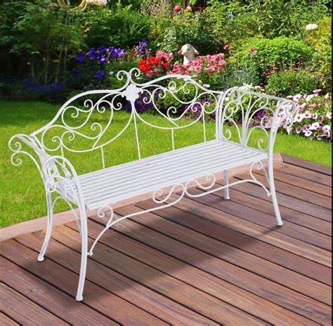 vintage garden bench style furniture white metal