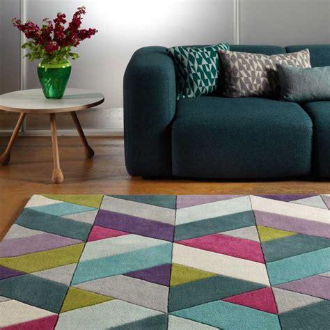 tapis chambre fille violet tapis moderne multicolore avec motifs chevrons en