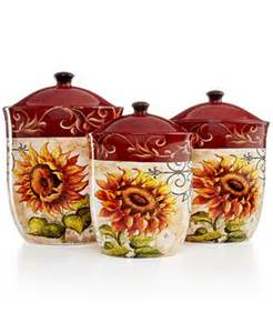 sunflower canister sets kitchen closeout certified international serveware tuscan sunflower 3 canister set serveware