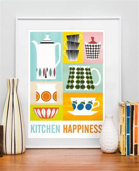 kitchen print poster mid century poster art  kitchen