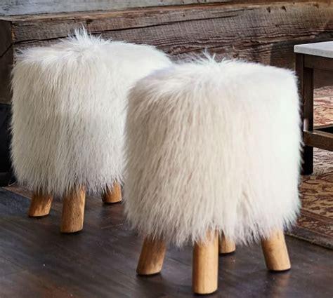 white faux fur stool mongolian faux fur stool pottery barn 1297