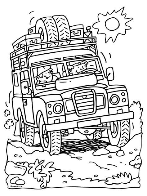 Kleurplaat Auto 39 by Kleurplaat In Een Landrover Op Safari Kleurplaten Nl