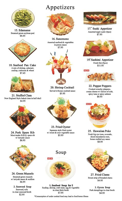 Japanese Appetizers Menu  Ichiban Steakhouse  Allentown Pa