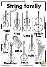 Coloring Families Instrument String Musical Anastasiya Pdf Four sketch template