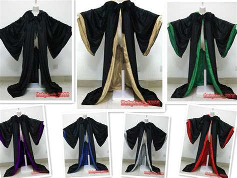 New Stock! Black Cape Hooded Cloak Wizard Robes Costumes