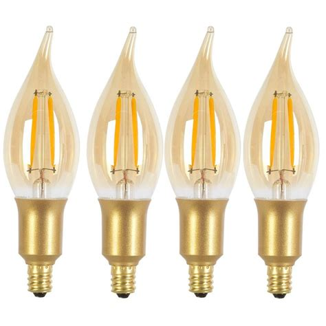 globe electric 40w equivalent soft white 2200k vintage edison candelabra dimmable led light